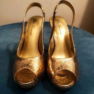 Lulu Townsend Gold Faux Snake Skin Heels